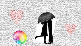 Aimez les couples sous la pluie, illustration de vecteur, concept d'amour illustration stock