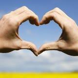 Aimez les mains de forme - coeur sur le champ jaune et le ciel bleu Images libres de droits