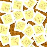Aimez les messages sur le fond sans couture de table de rotin illustration libre de droits