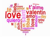 Aimez les mots à un coeur, rouge sur le blanc Image stock