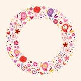 Aimez les oiseaux et fleurissez le fond d'ornamental de frontière de cadre de cercle de nature Image libre de droits