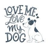 Aimez mon lettrage 02 de chien illustration de vecteur