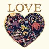 Aimez, ornement abstrait sous forme de coeur, carte Griffonnage multicolore avec un cadre d'or et des lettres d'or, dessin de mai Illustration Stock