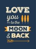 Aimez-vous à la lune et au dos illustration de vecteur