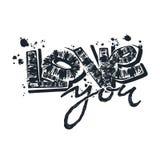 Aimez-vous carte postale, slogan expressif de typographie d'encre de métier de main illustration stock