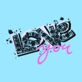 Aimez-vous carte postale, slogan expressif de typographie d'encre de métier de main illustration libre de droits