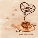 Aimez-vous davantage que le texte de café d'isolement sur le fond texturisé Photo stock