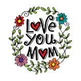 Aimez-vous lettrage de main de maman illustration libre de droits