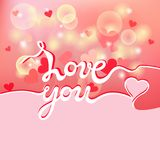 Aimez-vous lettrage sur le fond rose Photo stock