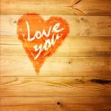 Aimez-vous salutation de coeur sur le fond en bois affligé de texture grunge de vintage peint Photographie stock