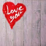 Aimez-vous salutation de coeur sur le fond en bois affligé de texture grunge de vintage peint Photo libre de droits