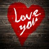 Aimez-vous salutation de coeur sur le fond en bois affligé de texture grunge de vintage peint Image libre de droits