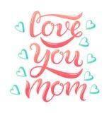 Aimez-vous texte rose de maman et coeurs bleus illustration de vecteur