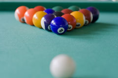 Aiming. Ready to play pool billiard Royalty Free Stock Image