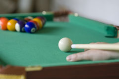 Aiming. Ready to play pool billiard Royalty Free Stock Images