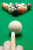 Aiming. Ready to play pool billiard royalty free stock photo