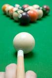 Aiming. Ready to play pool billiard Royalty Free Stock Photo