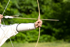 Aiming archers. On the green background Royalty Free Stock Image