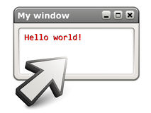 Aiming arrow with computer window Stock Photo