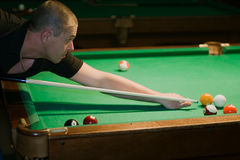 Aiming for billiard Stock Images