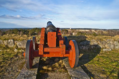 Aiming with a cannon. Cannon standing on Overberget fort at Fredriksten fortress in Halden Stock Image
