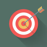 Aiming concept, the arrow in bulls eye. Colorful vector flat illustration royalty free illustration