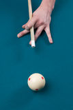 Aiming cue ball -vertical. Vertical photo of man aiming cue ball with cue stick- billiards stock image