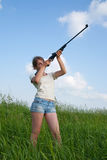 Aiming girl Royalty Free Stock Photography
