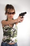 Aiming girl Royalty Free Stock Photos