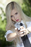 Aiming with gun royalty free stock photography