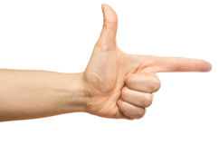 Aiming hand sign Stock Image