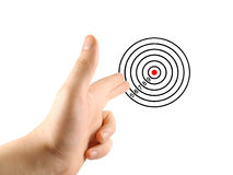 Aiming hand and target. Aiming hand sign with training target. isolated Stock Photo