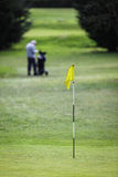 Aiming for the hole, flag on the green Royalty Free Stock Image