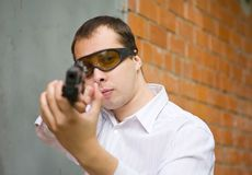 Aiming man Royalty Free Stock Photos