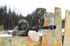 Aiming Paintball extreme sport game Stock Images