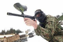 Aiming Paintball extreme sport game Stock Photo