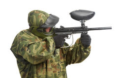 Aiming paintball player Royalty Free Stock Photos