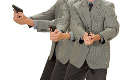 Aiming Pistol Ditective. A business man holds a weapon isolated on white stock photos