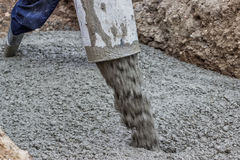 Aiming and placing concrete. Using crane and skip method, aiming during concrete Stock Image