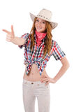 Aiming redhead cowgirl Royalty Free Stock Image