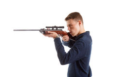 Aiming a rifle Royalty Free Stock Photo