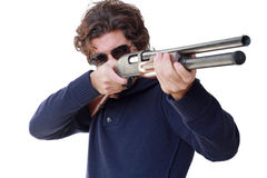 Aiming with shotgun isolated Stock Photo