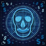 Aiming at skull with hacker related words on binary code background with dollar signs. Of blue shades Royalty Free Stock Photography