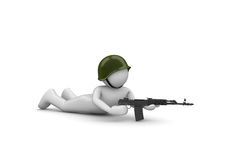 Aiming Soldier in Ambush. 3d isolated characters on white background series stock illustration