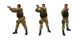 Aiming soldier white background. Three versions of modern soldier on white background Royalty Free Stock Image