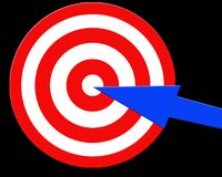 Aiming target. Arrow on the centre of target Stock Image
