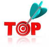 Aiming for the Top Word Arrow Target Bulls-Eye Stock Photos