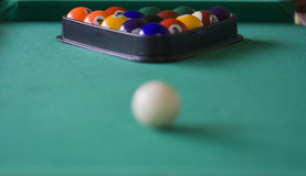 Aiming white ball. Ready to play pool billiard Royalty Free Stock Photography