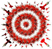 Aiming For You. With a group of red darts shaped as a bullseye target aimed at the viewer as a business concept of being hunted for employment opportunity or Stock Photography