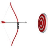 Aiming at Your Target - Bow and Arrow. A bow and arrow is held aiming at a target bulls-eye, representing concentration as you focus on succeeding in hitting Royalty Free Stock Photos